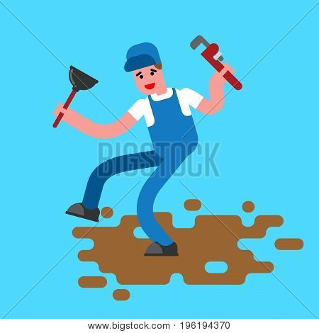 Plumber With Wrench And Plunger Contour Style. The Plumber Goes Through Dirty Puddle Of Shit Linear