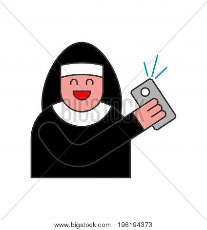 Nun Of Selfie. Catholic Religious Woman Photographed On Phone