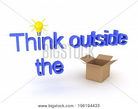 3D illustration showing the text Think outside the box with an actuall replacing the word box. Isolated on white.