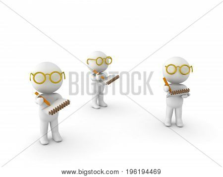 3D Illustration of researchers taking notes. Isolated on white.