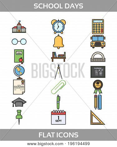 Simple Set of School and Office Vector Flat Icons. Contains such Icons as school building, bell, alarm clock, certificate, paper clip, pen, pencil, ruler, triangle ruler, compasses and more. Back to school