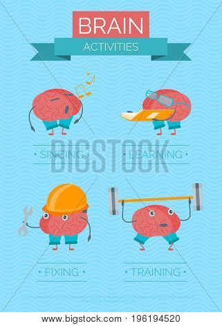 Cartoon Brain Activities Poster Exercise Education for Intellect Flat Design Style Element Web. Vector illustration
