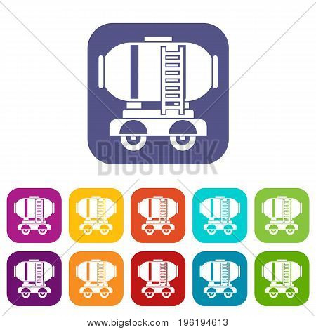 Waggon storage tank with oil icons set vector illustration in flat style in colors red, blue, green, and other