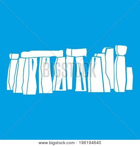 Stonehenge icon white isolated on blue background vector illustration