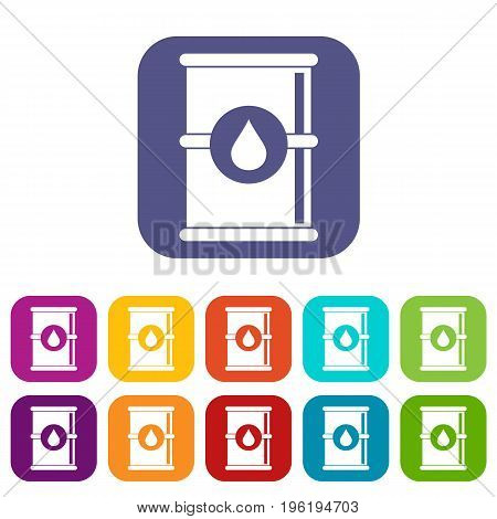 Barrel of oil icons set vector illustration in flat style in colors red, blue, green, and other