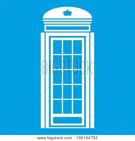 Phone booth icon white isolated on blue background vector illustration