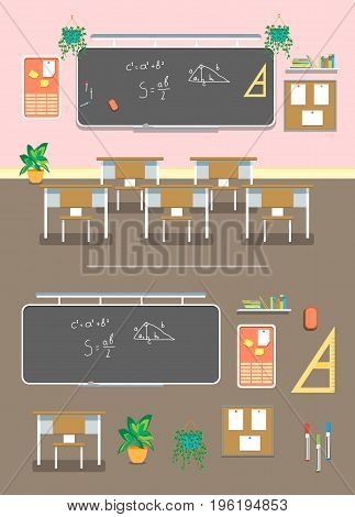 Cartoon Classroom Design Interior and Element Set for School, College and University Flat Design Style. Vector illustration
