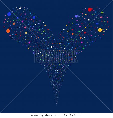 Bomb source stream. Vector illustration style is flat bright multicolored iconic bomb symbols on a blue background. Object fountain combined from random design elements.