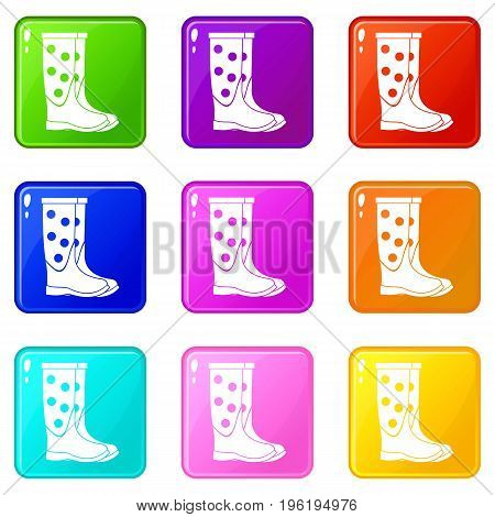 Rubber boots icons of 9 color set isolated vector illustration