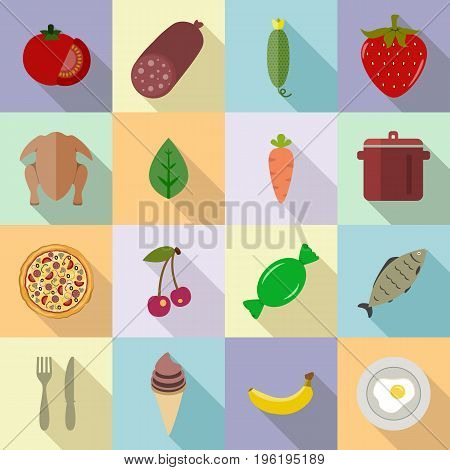 Food set of various icons on cooking. Fruits, vegetables, berries, meat set of colored icons with long shadow on a colored background