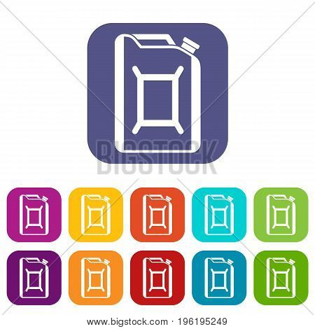 Flask for gasoline icons set vector illustration in flat style in colors red, blue, green, and other