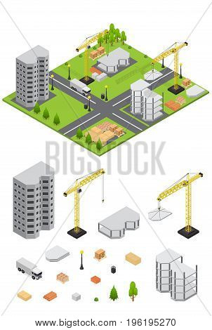 City Landscape Isometric View and Element Set Part of the Map with Architecture of Buildings for Web and Game. Vector illustration