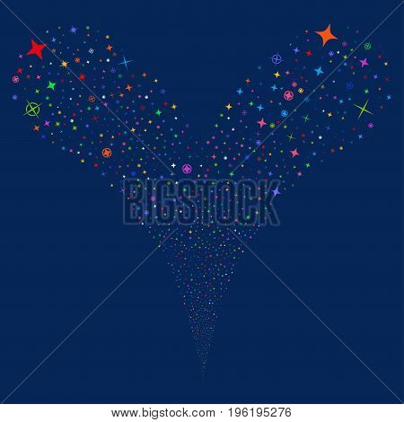 Confetti Stars source stream. Vector illustration style is flat bright multicolored iconic confetti stars symbols on a blue background. Object fountain organized from random pictograms.