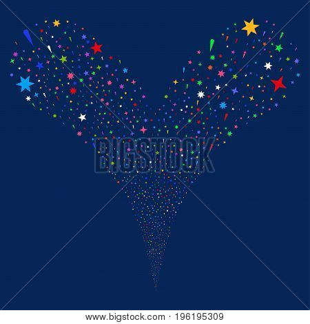 Confetti Stars source stream. Vector illustration style is flat bright multicolored iconic confetti stars symbols on a blue background. Object fountain done from random icons.