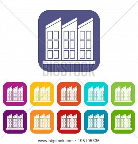 Building icons set vector illustration in flat style in colors red, blue, green, and other