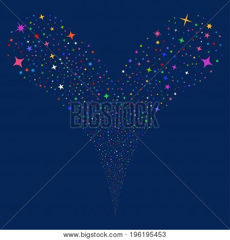 Confetti Stars fireworks stream. Vector illustration style is flat bright multicolored iconic confetti stars symbols on a blue background. Object fountain constructed from random symbols.