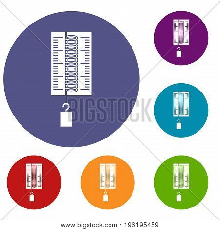 Physics dynamometer for laboratory work icons set in flat circle red, blue and green color for web