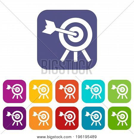 Arrow hit the target icons set vector illustration in flat style in colors red, blue, green, and other
