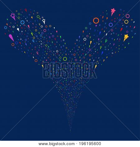Confetti Stars fireworks stream. Vector illustration style is flat bright multicolored iconic confetti stars symbols on a blue background. Object fountain done from random icons.