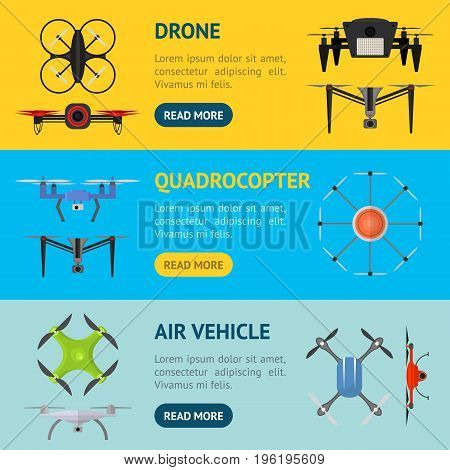 Air Drone Color Drone Banner Horizontal Set Innovation Technology Control Concept Flat Design Style. Vector illustration