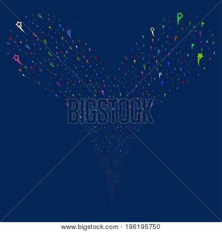 Confetti Stars fireworks stream. Vector illustration style is flat bright multicolored iconic confetti stars symbols on a blue background. Object fountain organized from random pictographs.