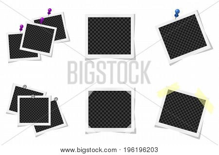 Collage Of Realistic Photo Frames Isolated. Vector Illustration
