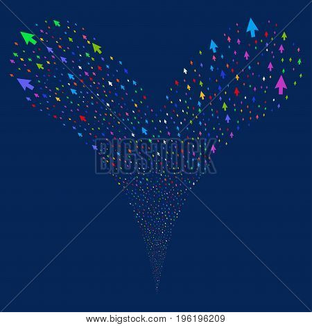Cursor Arrow source stream. Vector illustration style is flat bright multicolored iconic cursor arrow symbols on a blue background. Object fountain organized from random pictograms.