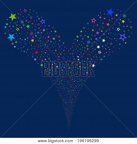 Decoration Stars source stream. Vector illustration style is flat bright multicolored iconic decoration stars symbols on a blue background. Object fountain created from random pictographs.