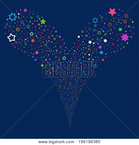 Decoration Stars fireworks stream. Vector illustration style is flat bright multicolored iconic decoration stars symbols on a blue background. Object fountain organized from random pictograms.