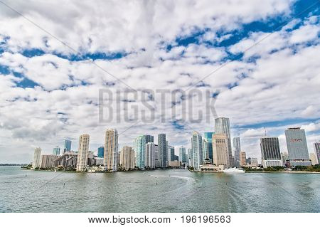 Aerial view of Miami waterfront skyline downtown at sunny day.