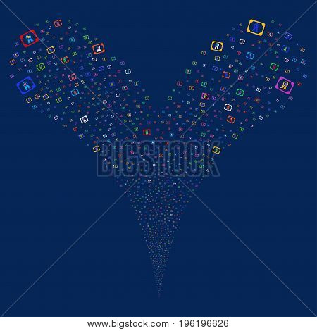 Diploma fireworks stream. Vector illustration style is flat bright multicolored iconic diploma symbols on a blue background. Object fountain created from random icons.