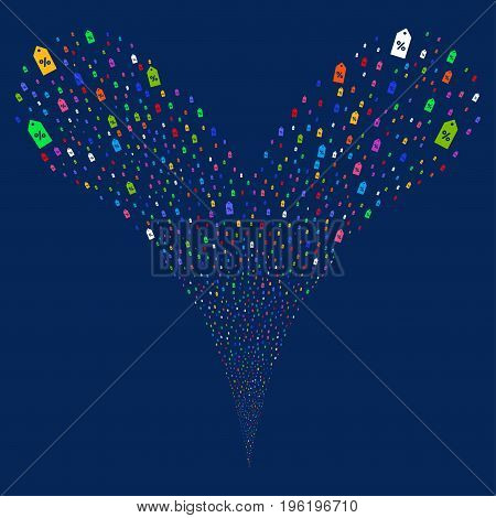 Discount Tag source stream. Vector illustration style is flat bright multicolored iconic discount tag symbols on a blue background. Object fountain combined from random pictographs.