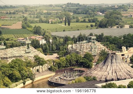 attractions on the background of nature Gardaland; Italy.