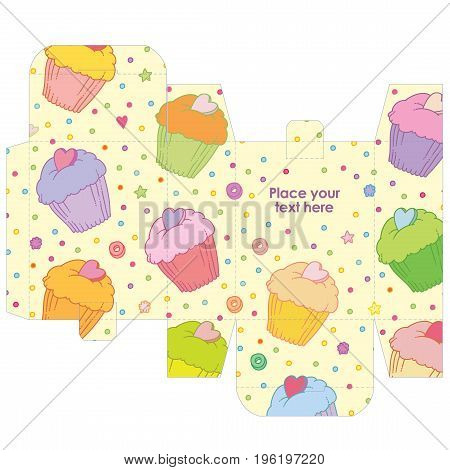 Gift wedding favor box template with sweet pattern - vector food pattern sweets cakes and muffins