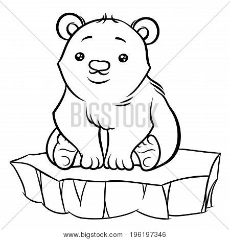 Illustration of cute cartoon baby Polar Bear sitting on an ice floe