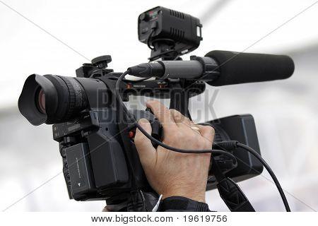 Cameraman and video camera