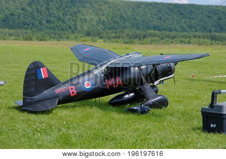 PENZA OBLAST, RUSSIA - JULY 15, 2017: Radio control flying model of Westland Lysander aircraft. The Russian Aeromodelling Cup in Bolshoy Vyas village.