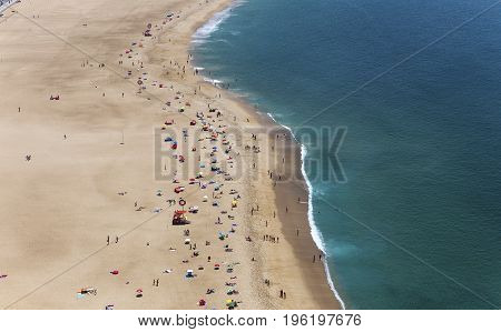 Beach Of Nazare, Portugal, From El Sitio