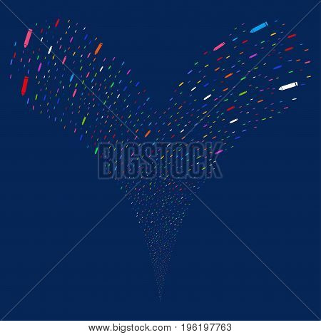 Edit Pencil fireworks stream. Vector illustration style is flat bright multicolored iconic edit pencil symbols on a blue background. Object fountain created from random icons.