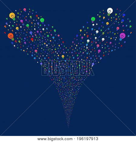 Electric Bulb explosive stream. Vector illustration style is flat bright multicolored iconic electric bulb symbols on a blue background. Object fountain constructed from random icons.