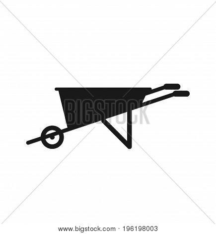 Black silhouettes of wheelbarrow. Wheelbarrow icon sign. Vector stock.