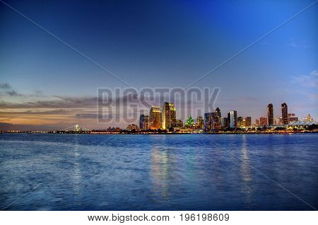 Evening image of San Diego across the harbor in high dynamic range.
