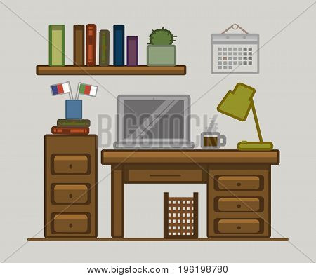 Vector Drawn Poster Of Home Office Space. Language Learning. Table, Laptop, Lamp, Calendar, Coffee,