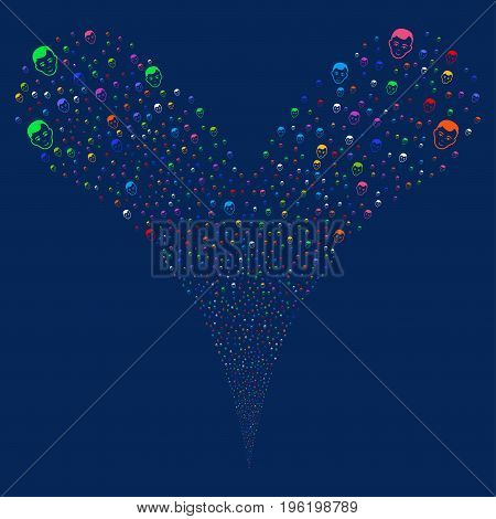 Face explosive stream. Vector illustration style is flat bright multicolored iconic face symbols on a blue background. Object fountain created from random pictograms.