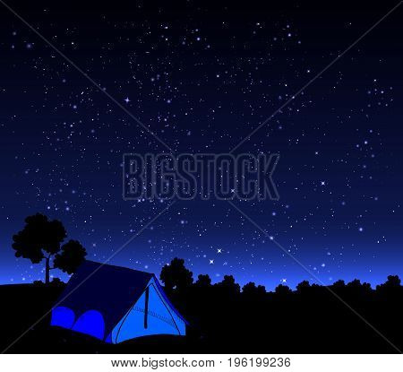 The tent is open starry sky, vector art illustration.