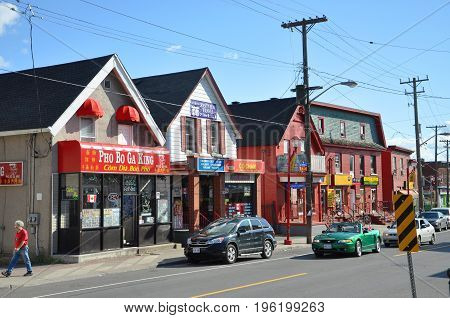 OTTAWA, CANADA - JULY 1, 2011: The Chinatown in somerset street in downtown Ottawa, Ontario, Canada.