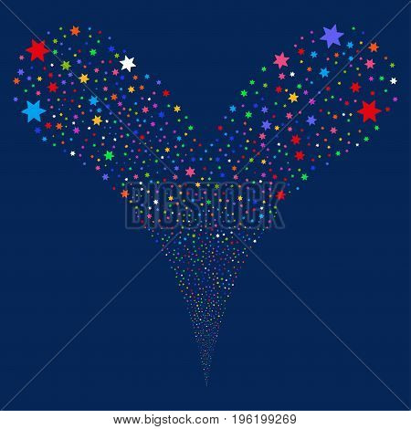 Fireworks Star salute stream. Vector illustration style is flat bright multicolored iconic fireworks star symbols on a blue background. Object fountain done from random pictographs.