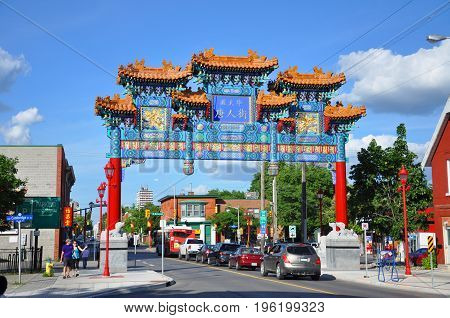 OTTAWA, CANADA - JULY 1, 2011: The Friendship Archway in somerset street in the heart of Chinatown in Ottawa, Canada.