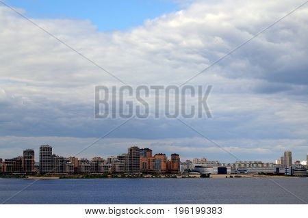 Panoramic view of the river and the city of Kazan Republic of Tatarstan Russia