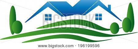 Two houses and meadow, real estate and holiday houses logo